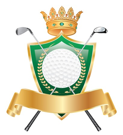 golden crown: vector resumen premio corona de oro del golf