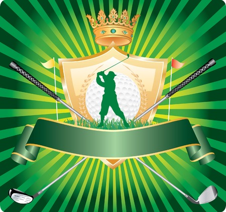 vector banner with golfer silhouette Stock Vector - 5057015
