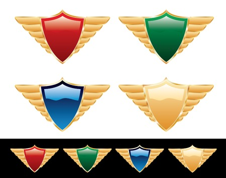 vector blank shields with wings Vector