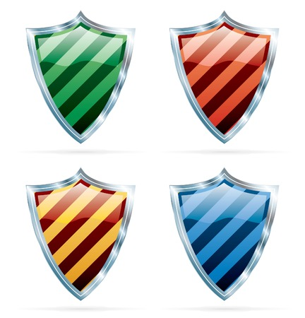 vector stripped shields in four colors Stock Vector - 5071286