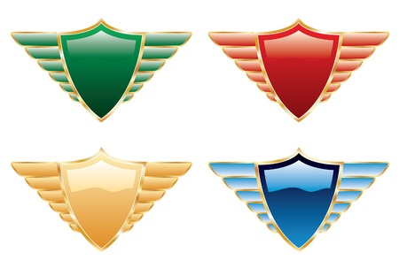 symbol vector: vector shields in four colors