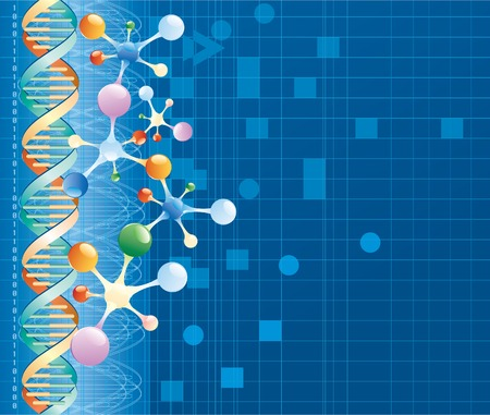 vector abstract background with DNA curve and color molecules Illustration