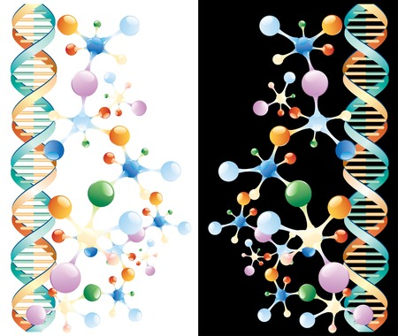 genetically: vector abstract background with molecules