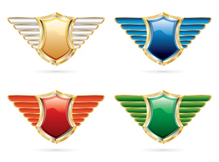 vector shields in four colors Vector
