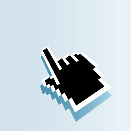 clic: vector black hand screen cursor Illustration