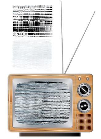 television aerial: vector wooden vintage tv set with broken screen image