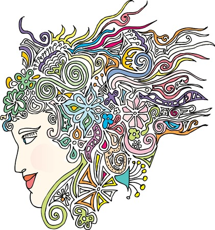 artistic nude: original hand drawn vector abstract woman head in retro pop style