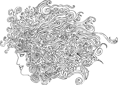 original hand drawn vector abstract woman head with floral hair Vector