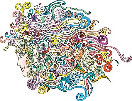 original hand drawn vector abstract woman profile in retro pop style Stock Vector - 5307857