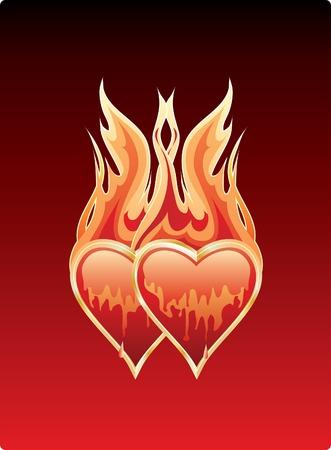 corazones vector dos en amor ardiente