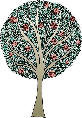 vector hand: vector original hand drawn abstract tree Illustration