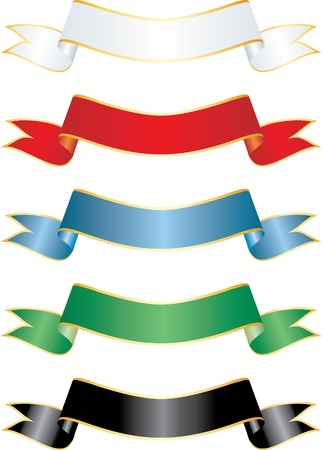 vector ribbons in five colors Vector