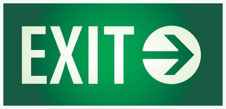 exit: vector  illustration of the illuminated sign for exit