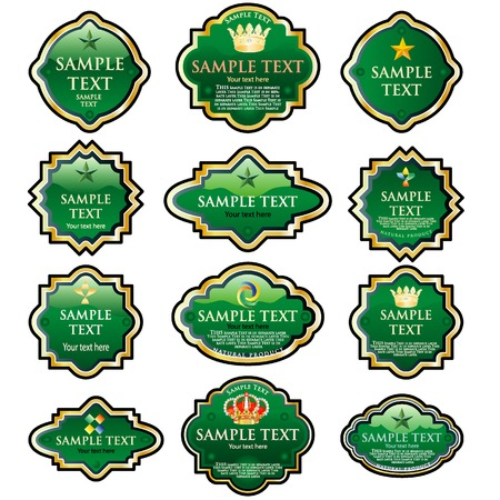 twelve green vector labels for various products like food, beverages, cosmetics etc. Vector