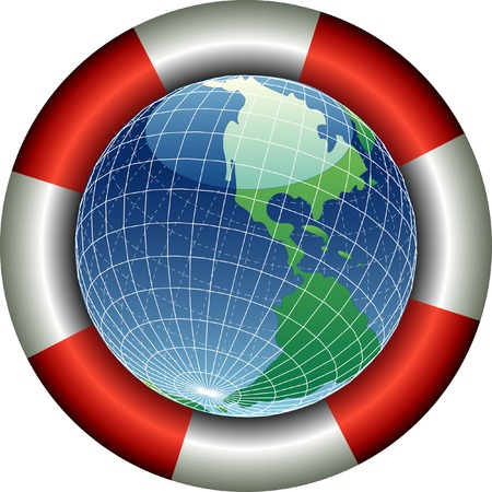 vector illustration of the globe with life belt Vector