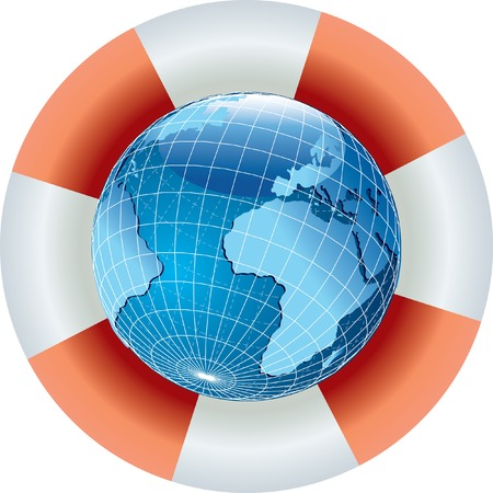 life guard: vector illustration of the globe with life belt