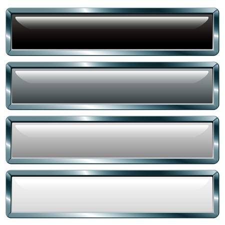 on metal: botones de vector con marco met�lico, gris colecci�n