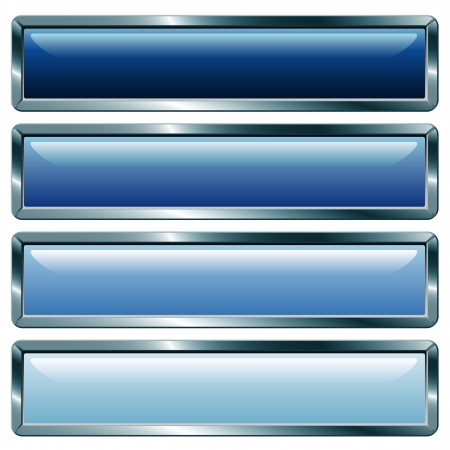 rectangle button: vector buttons with metallic frame, blue collection Illustration