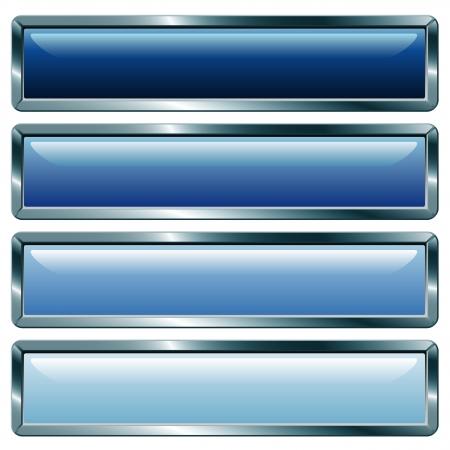 vector knoppen met metalen frame, blauwe collectie