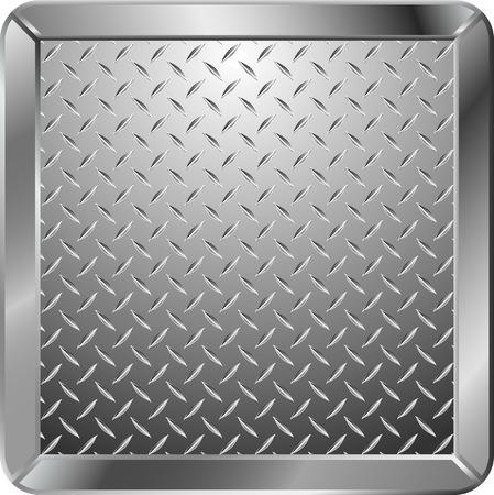 pavimento lucido: vector background con piastra di metallo con cornice Vettoriali