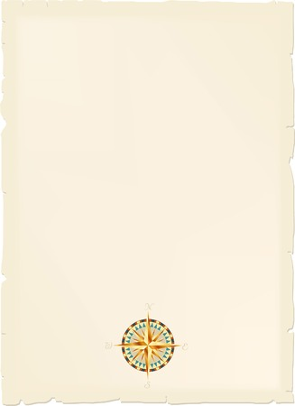 vector vintage blank map with wind rose Vector