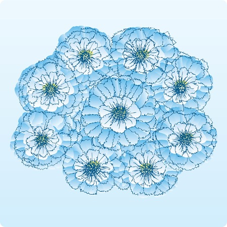 vector hand drown flowers in blue colors Stock Vector - 5428576