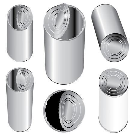 vector metal cans closed and opened Stock Vector - 5458755