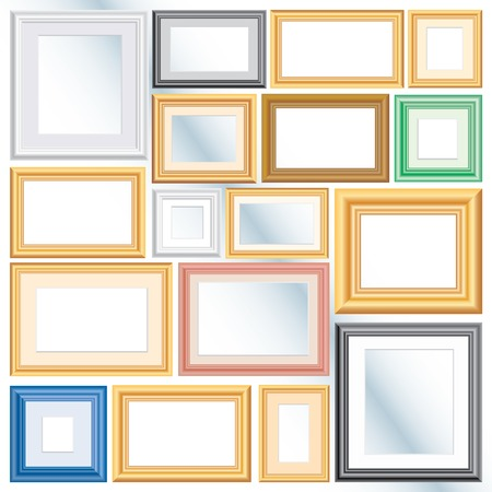 set of vector different frames, background is in separate layer and you can easy to remove them and put your own images Vector