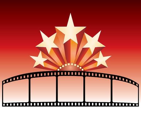 vector de publicidad para la película con estrellas