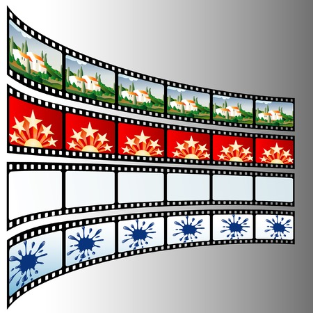 vector illustration with film strips like screens Vector
