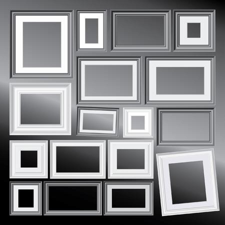 them: insieme di vettori in bianco e nero cornici differenti, sullo sfondo � in layer separati e si pu� facilmente rimuoverli e aggiungere la propria immagini Vettoriali