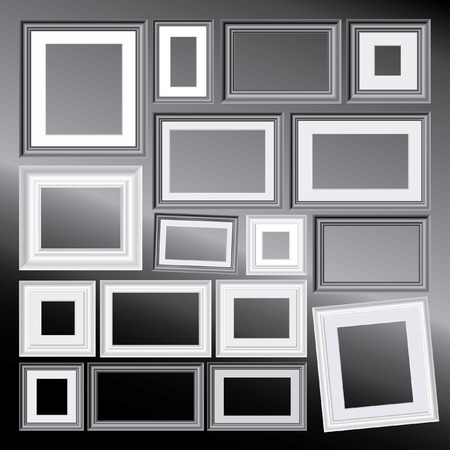 set of vector black and white different frames, background is in separate layer and you can easy to remove them and put your own images  Vector