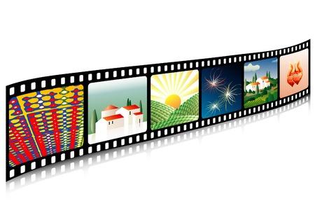 vector de la película de celuloide con imágenes de Ilustración de vector