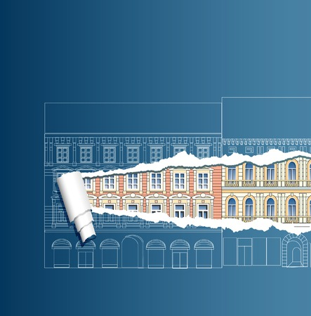 vector ripped blueprint with old houses Vector