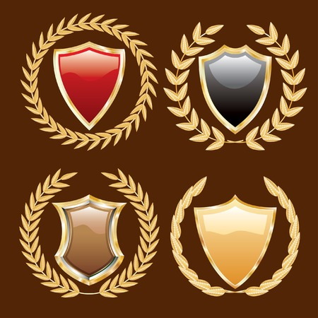 set of vector golden shields with laurels Vector
