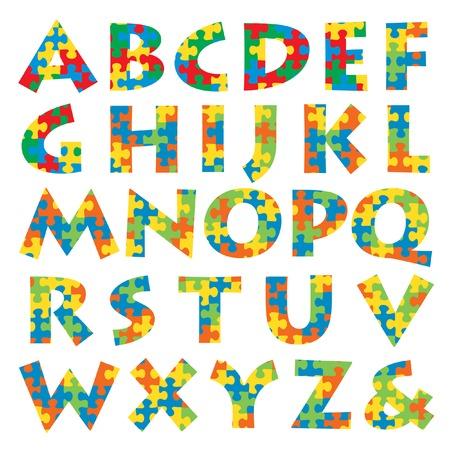 kinder: alfabeto vettore fatto di puzzle in quattro colori