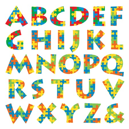 kinder: vector alphabet made of puzzle in four colors