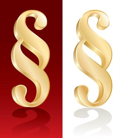 vector illustration of golden paragraph symbol