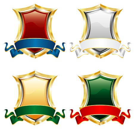 four vector blank shields with blank ribbons Vector