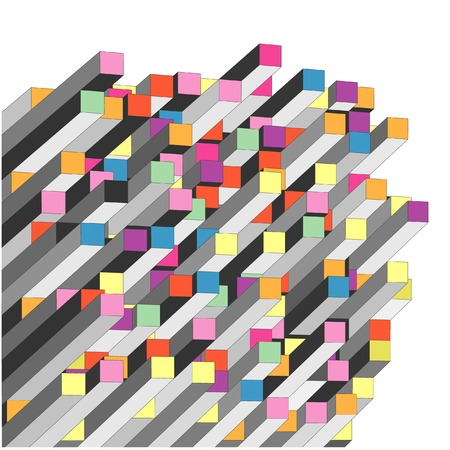 directives: vector abstract graph with color parallelepipeds