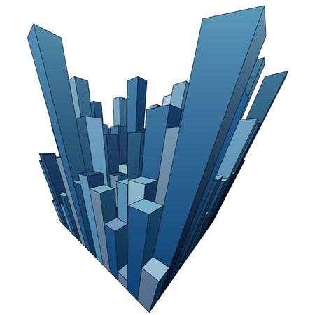 large office: vector abstract city with blue skyscrapers Illustration