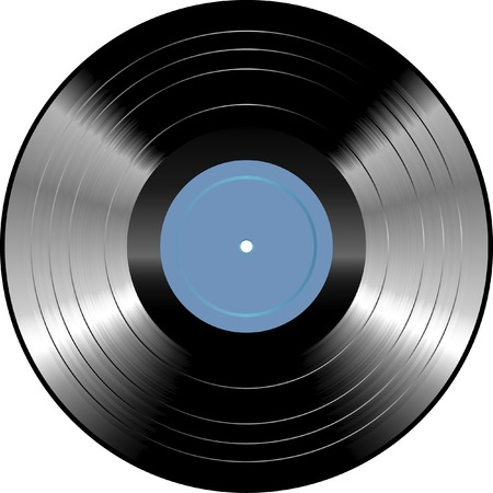 vector vinyl record with blank blue label