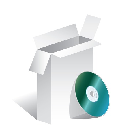 cdr: vector blank open box with CD Illustration