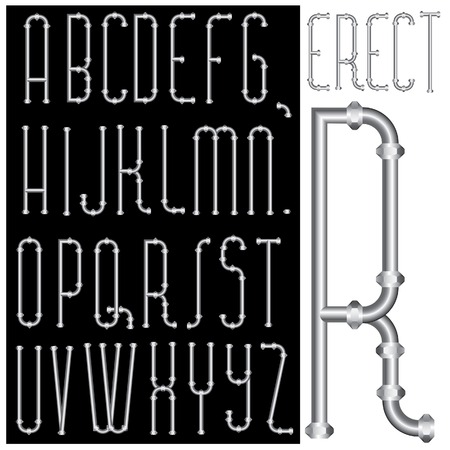 vector original font with pipes Vector