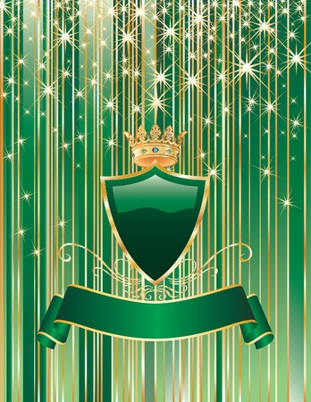 vector green background with blank shield and ribbon Stock Vector - 5855245