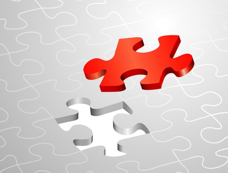 vector symbolic illustrations with one red puzzle Vector
