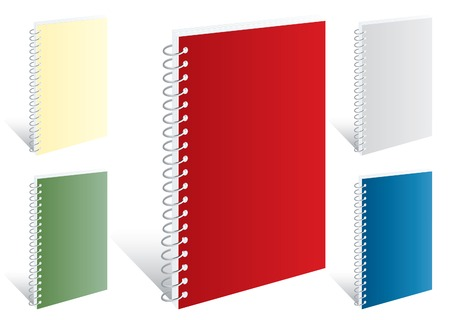 vector blank notebooks in five colors Stock Vector - 5890126