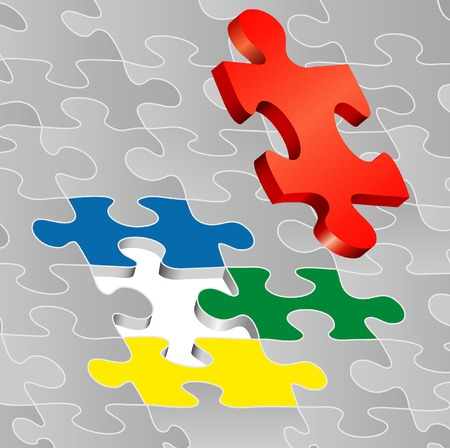 symbolic illustration with puzzle Vector