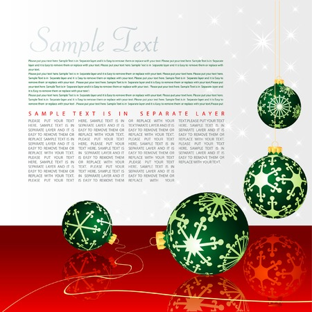 vector holidays background with green balls on red table Stock Vector - 5908906