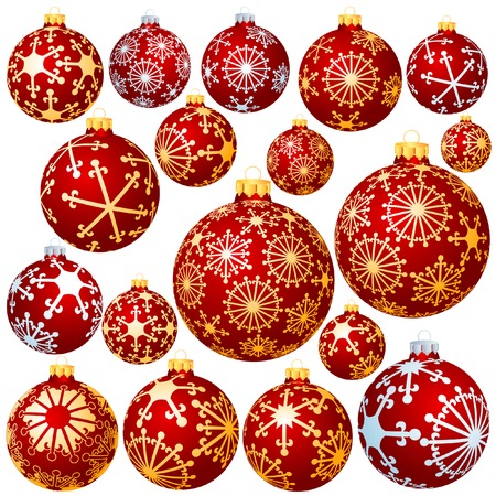spangles: vector set of eighteen different christmas balls